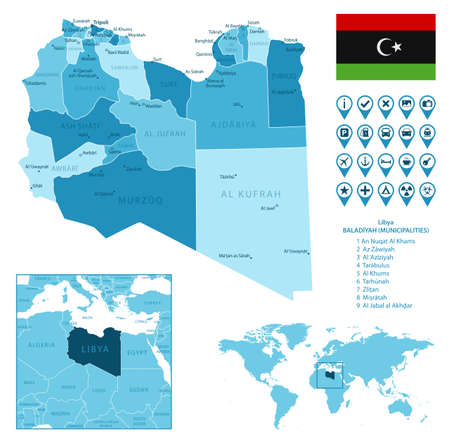 Libya detailed administrative blue map with country flag and location on the world map.