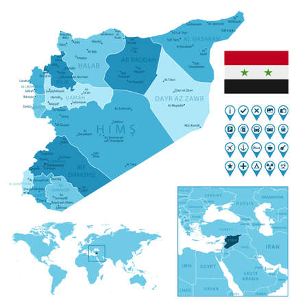 Syria detailed administrative blue map with country flag and location on the world map.