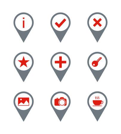 Red - Gray Travel Icons. Set 9 Vector Icons. Ilustração