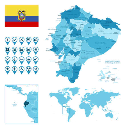 Ecuador detailed administrative blue map with country flag and location on the world map.