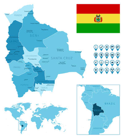 Bolivia detailed administrative blue map with country flag and location on the world map.