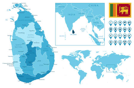 Sri Lanka detailed administrative blue map with country flag and location on the world map. Ilustração