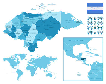 Honduras detailed administrative blue map with country flag and location on the world map. Ilustração
