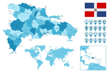 Dominican Republic detailed administrative blue map with country flag and location on the world map.
