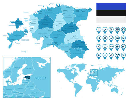 Estonia detailed administrative blue map with country flag and location on the world map. Ilustração