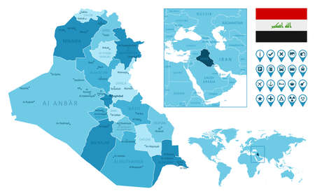Iraq detailed administrative blue map with country flag and location on the world map. Ilustração