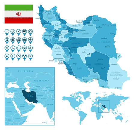Iran detailed administrative blue map with country flag and location on the world map. Ilustração
