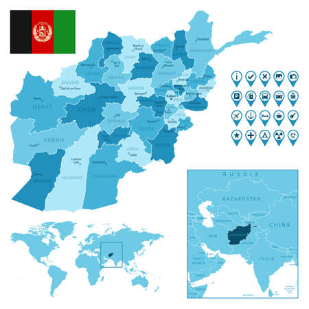 Afghanistan detailed administrative blue map with country flag and location on the world map.