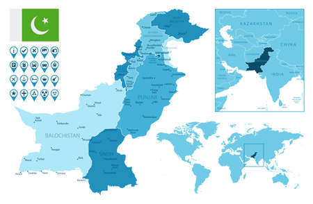 Pakistan detailed administrative blue map with country flag and location on the world map. Ilustração