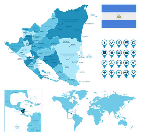 Nicaragua detailed administrative blue map with country flag and location on the world map.