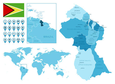 Guyana detailed administrative blue map with country flag and location on the world map. Ilustração