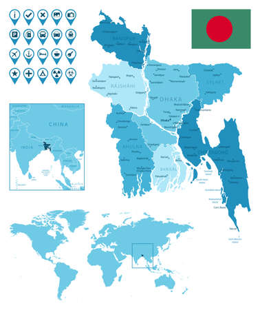 Bangladesh detailed administrative blue map with country flag and location on the world map.