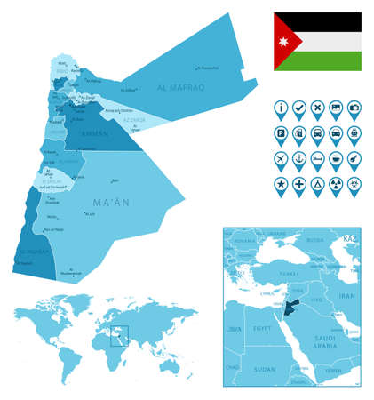 Jordan detailed administrative blue map with country flag and location on the world map. Ilustração