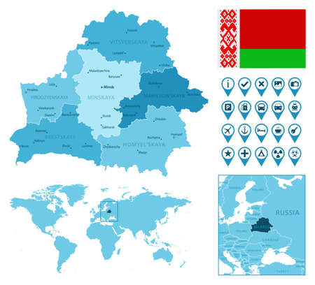 Belarus detailed administrative blue map with country flag and location on the world map.