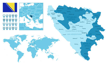 Bosnia and Herzegovina detailed administrative blue map with country flag and location on the world map. Ilustração