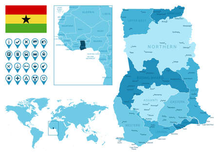 Ghana detailed administrative blue map with country flag and location on the world map. Ilustração