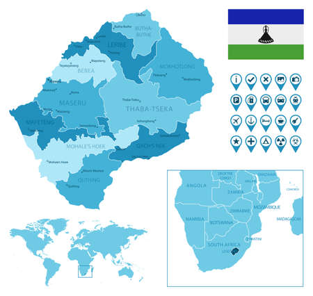 Lesotho detailed administrative blue map with country flag and location on the world map.