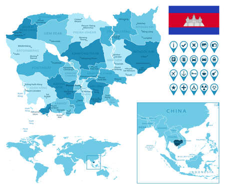Cambodia detailed administrative blue map with country flag and location on the world map.