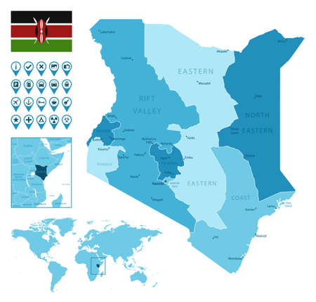 Kenya detailed administrative blue map with country flag and location on the world map. Ilustração