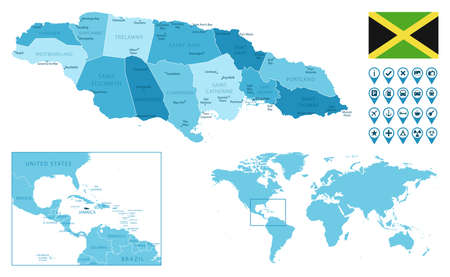 Jamaica detailed administrative blue map with country flag and location on the world map. Ilustração