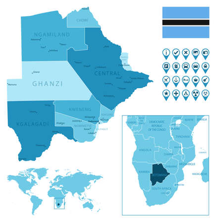 Botswana detailed administrative blue map with country flag and location on the world map.