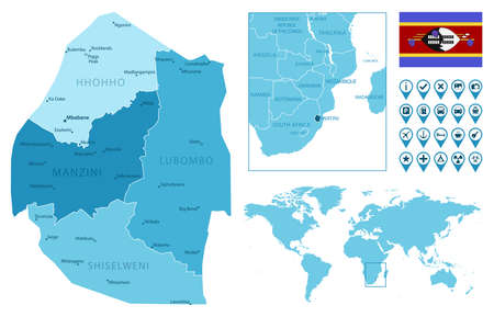 Eswatini detailed administrative blue map with country flag and location on the world map.