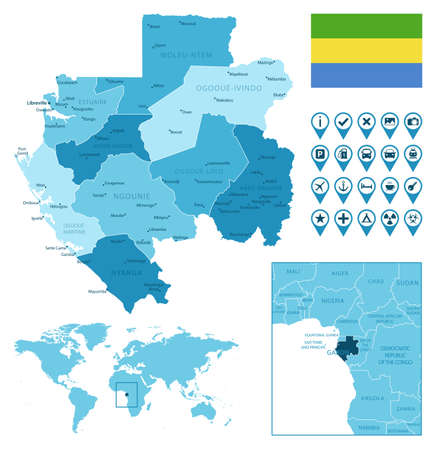Gabon detailed administrative blue map with country flag and location on the world map.
