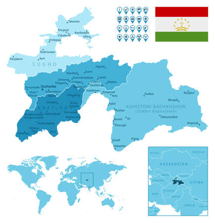 Tajikistan detailed administrative blue map with country flag and location on the world map. Ilustração