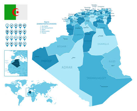 Algeria detailed administrative blue map with country flag and location on the world map. Ilustração