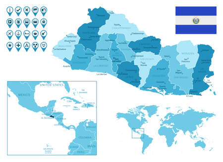 El Salvador detailed administrative blue map with country flag and location on the world map.
