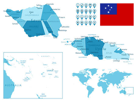 Samoa detailed administrative blue map with country flag and location on the world map.