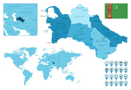 Turkmenistan detailed administrative blue map with country flag and location on the world map.
