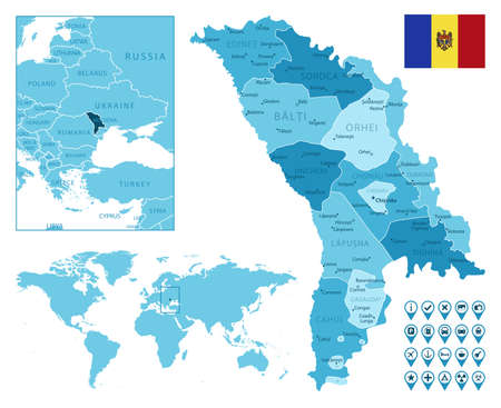 Moldova detailed administrative blue map with country flag and location on the world map.
