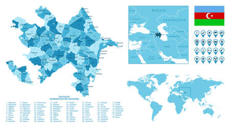 Azerbaijan detailed administrative blue map with country flag and location on the world map. Ilustração