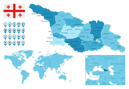 Georgia detailed administrative blue map with country flag and location on the world map. Ilustração