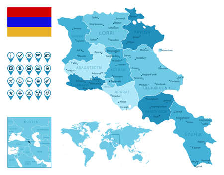Armenia detailed administrative blue map with country flag and location on the world map.