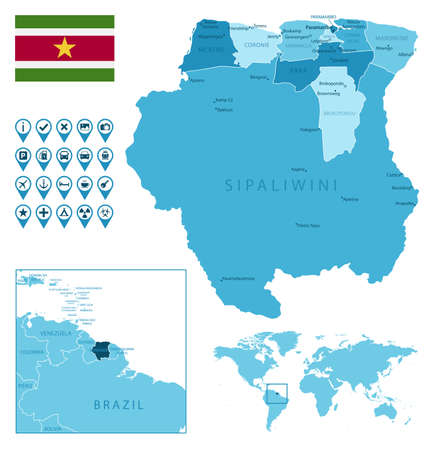 Suriname detailed administrative blue map with country flag and location on the world map.