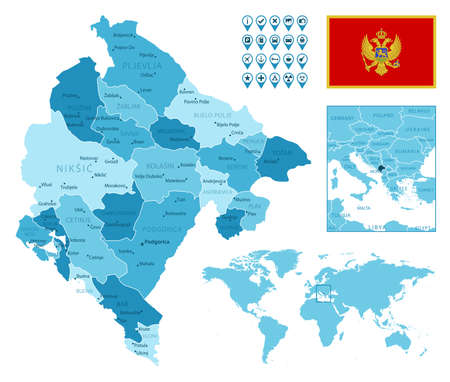 Montenegro detailed administrative blue map with country flag and location on the world map.