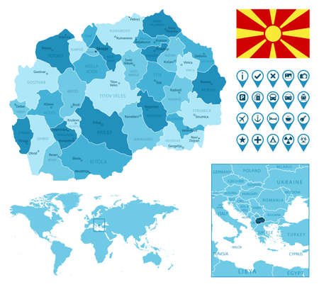 Macedonia detailed administrative blue map with country flag and location on the world map.