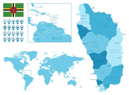 Dominica detailed administrative blue map with country flag and location on the world map.