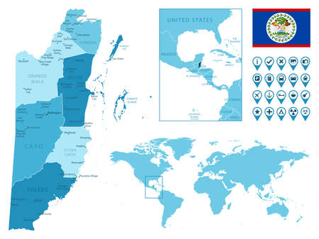 Belize detailed administrative blue map with country flag and location on the world map. Ilustração
