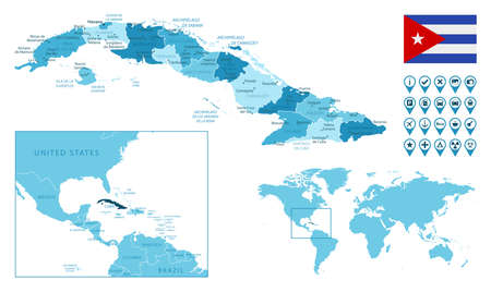 Cuba detailed administrative blue map with country flag and location on the world map.