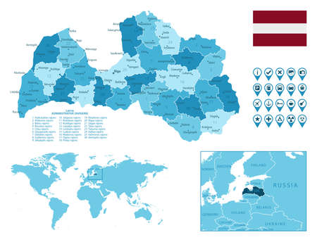 Latvia detailed administrative blue map with country flag and location on the world map. Ilustração