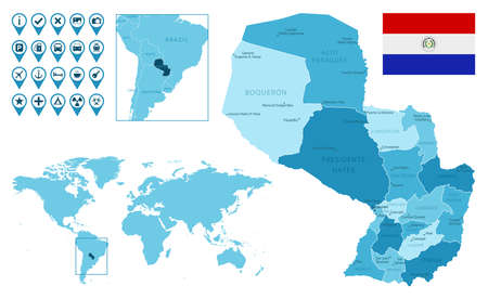 Paraguay detailed administrative blue map with country flag and location on the world map.