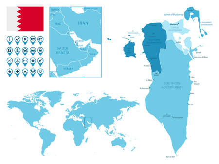 Bahrain detailed administrative blue map with country flag and location on the world map.