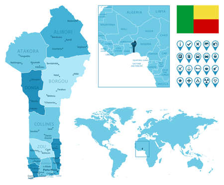 Benin detailed administrative blue map with country flag and location on the world map. Vector illustration Illusztráció
