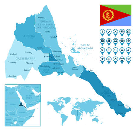 Eritrea detailed administrative blue map with country flag and location on the world map. Vector illustration Stock fotó - 167536358