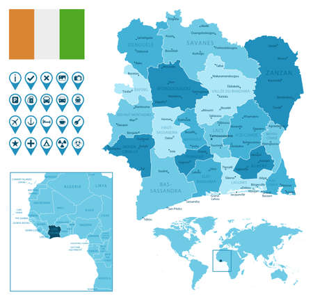 Cote dIvoire detailed administrative blue map with country flag and location on the world map. Vector illustration