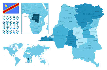 Democratic Republic of the Congo detailed administrative blue map with country flag and location on the world map. Vector illustration
