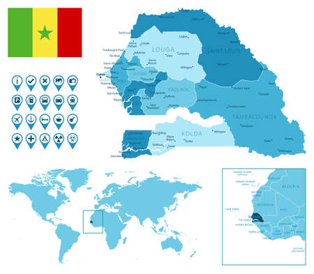 Senegal detailed administrative blue map with country flag and location on the world map. Vector illustration Illusztráció